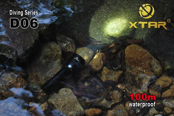 Профессиональный мощный водонепроницаемый фонарь для дайвинга и подводной охоты XTAR D06 на светодиоде...